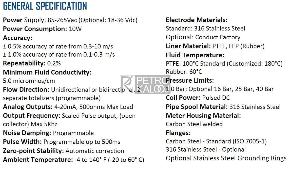 مشخصات فنی فلومتر-پتروکالوج